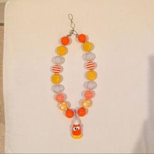 Girls bubblegum bead necklace - candy corn theme